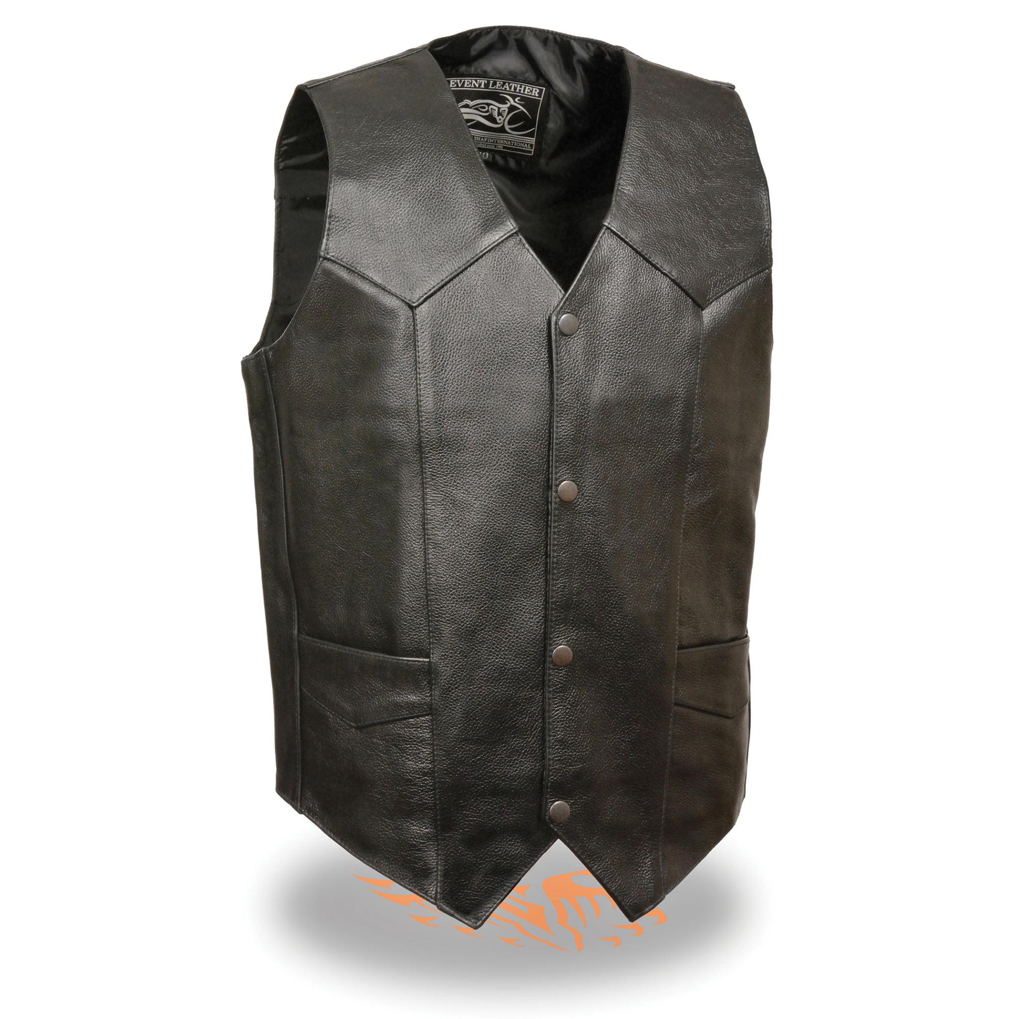 Mens Classic Leather Snap Front Biker Vest