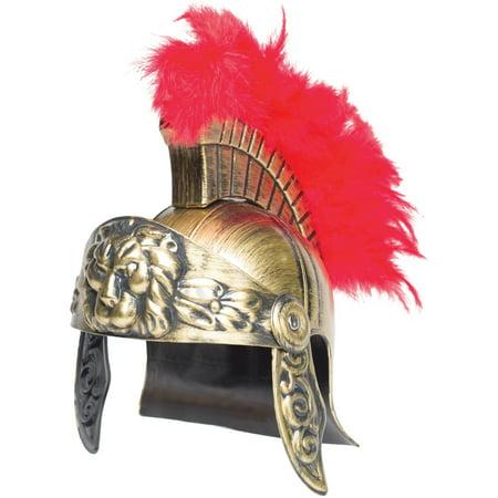Red Plume Crest Gladiator Lion Helmet Adult Halloween - Red Lion Nyc Halloween