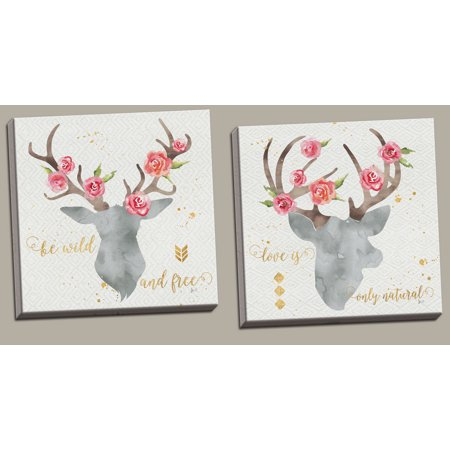 Lovely Watercolor-Style Floral Deer Head Silhouette by Jess Aiken; Cabin Decor; Two 12x12in Hand-Stretched Canvases