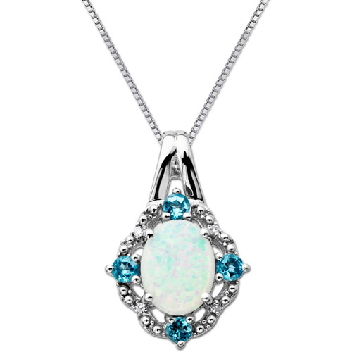"""1.02 Carat T.G.W. Created Opal and Blue Topaz Diamond Accent Sterling Silver Pendant, 18"""""""