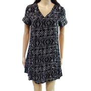 Wild Pearl NEW Black Size Small S Juniors Aztec-Print V-Neck Shift Dress