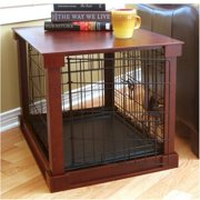 Indoor Wooden Mobile Dog Pet Cage With Crate Cover With Plastic Tray Small by Merry