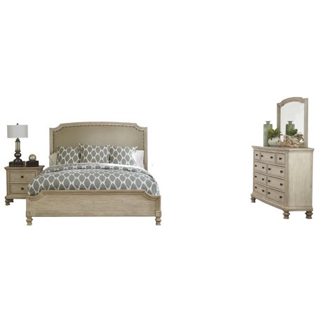 Ashley Furniture Demarlos 4 PC Bedroom Set: Cal King Upholstered Bed 1 Nightstand Dresser Mirror Parchment White ()