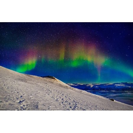 Aurora Borealis or Northern Lights in Full Color Seen from the Abisko Sky Station, Abisko Print Wall Art By Green Light Collection