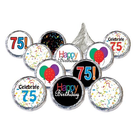 75th Birthday Party Favor Stickers, 324ct - Adult Birthday Party Supplies Colorful 75th Birthday Candy Decorations Favors - 324 Count Stickers (75th Birthday Party Supplies)