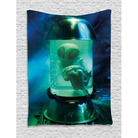 Outer Space Tapestry, Martian UFO Alien in a Aquarium like Tube Artwork Image, Wall Hanging for Bedroom Living Room Dorm Decor, 40W X 60L Inches, Blue Sky Blue and Light Green, by Ambesonne