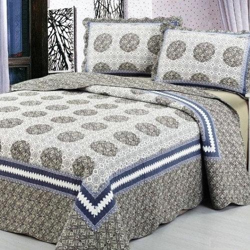 Home Sensation Cotton Reversible 3 Piece Quilt Set