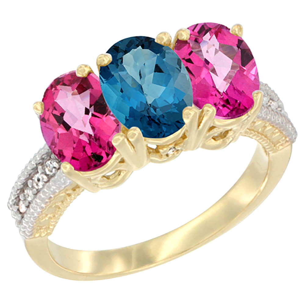 10K Yellow Gold Diamond Natural London Blue Topaz & Pink Topaz Ring 3-Stone Oval 7x5 mm, sizes 5 10 by WorldJewels