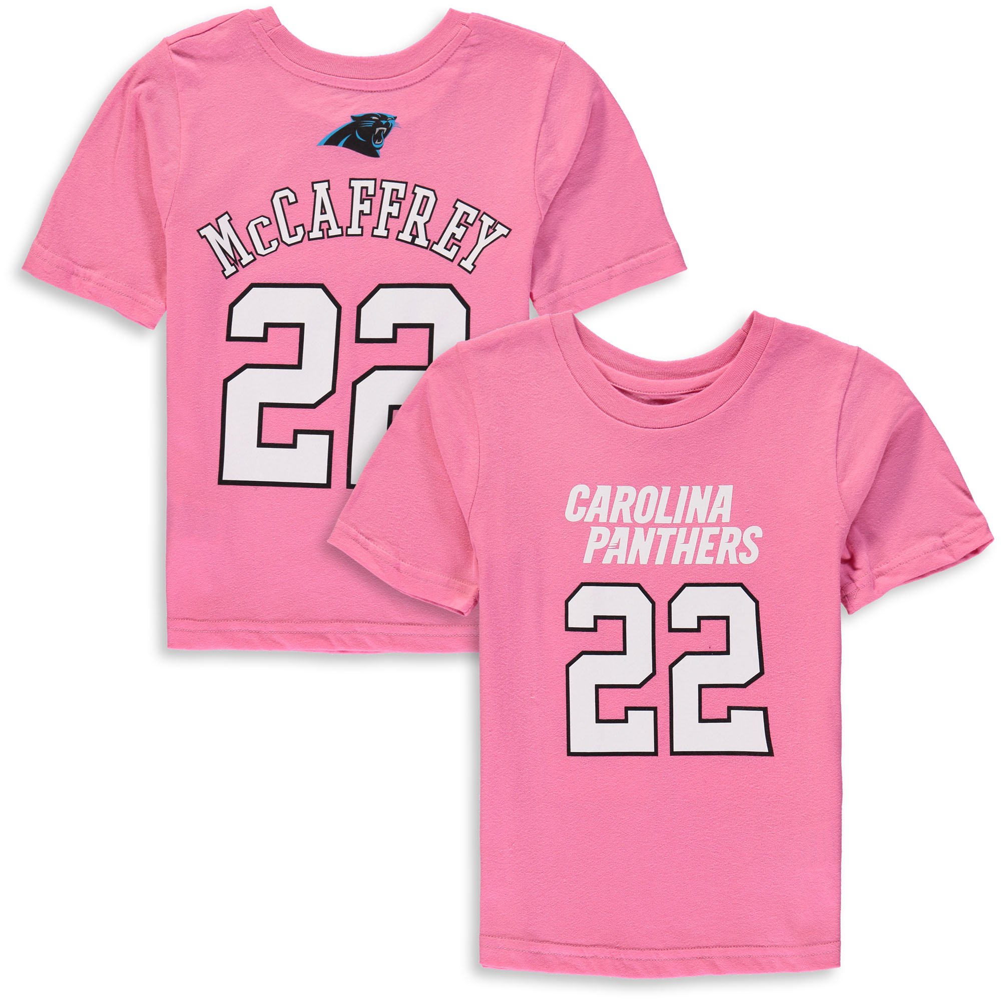 Christian McCaffrey Carolina Panthers Girls Preschool Player Mainliner Name & Number T-Shirt - Pink