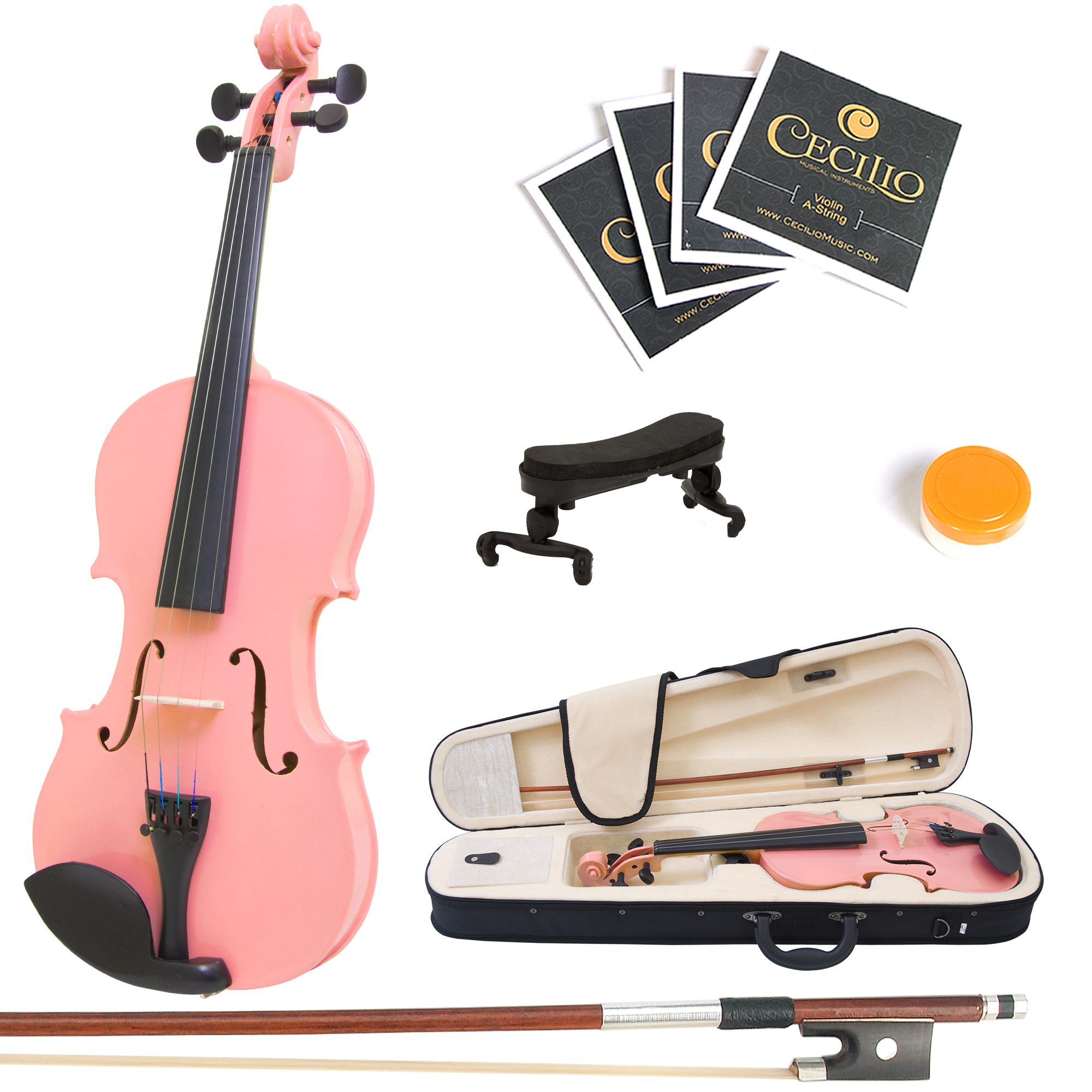 Mendini by Cecilio Size 1/4 MV-Pink Handcrafted Solid Wood Violin with 1 Year Warranty, Shoulder Rest, Bow, Rosin, Extra Set Strings, 2 Bridges & Case, Metallic Pink
