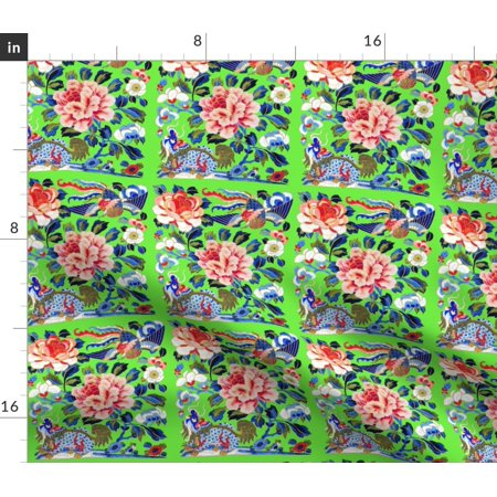 Phoenix Chinese Japanese Oriental Flowers Fabric Printed by Spoonflower BTY ()