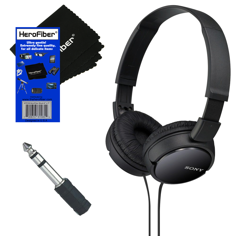Sony MDRZX110 ZX Series Stereo Headphones (Black) with 3.5mm Mini Plug to 1/4 inch Headphone Adapter & HeroFiber® Ultra Gentle Cleaning Cloth