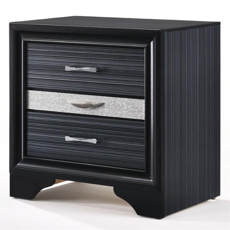 ACME Naima 3 Drawers Nightstand in Black Rubberwood