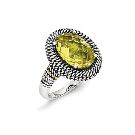 Antique 14k Gold Ring - Roy Rose Jewelry Sterling Silver with 14K Yellow Gold Antiqued Lemon Quartz Ring Size 7