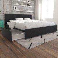 Novogratz Kelly Upholstered Bed with Storage, Multiple Colors, Multiple Sizes