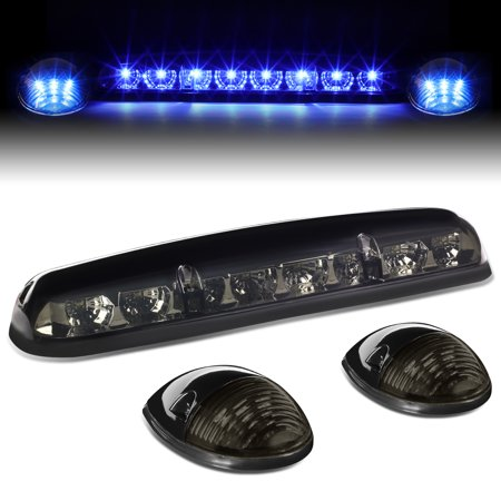Center Tail - For 02-06 Silverado / Sierra GMT800 LED Cab Roof Center Light + Pair Side Lamps (Smoked Housing Blue Lens) 04 05