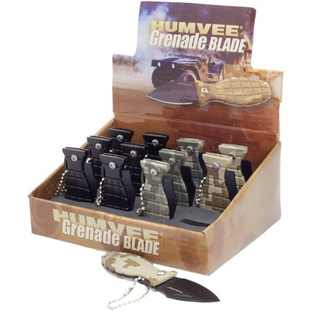 Folding Grenade Knives with 12-Piece Display, Humvee, 1.74