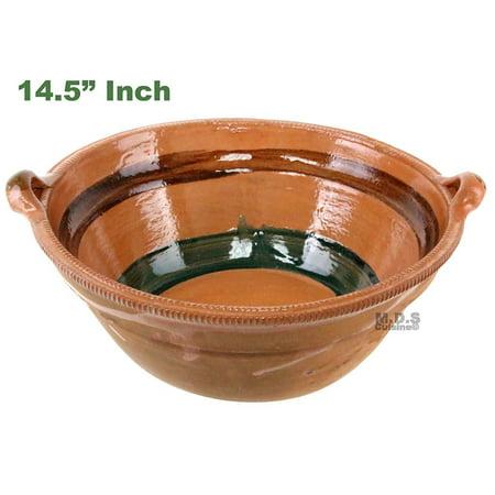 """- Cazuela De Barro 14.5"""" Lead Free Mexican Clay Traditional Decorative Artisan Artezenia"""