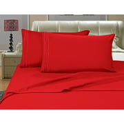 Elegant Comfort? 1500 Thread Count Egyptian Quality Microfiber Deep Pocket Bedroom Sheet Set, Queen Red