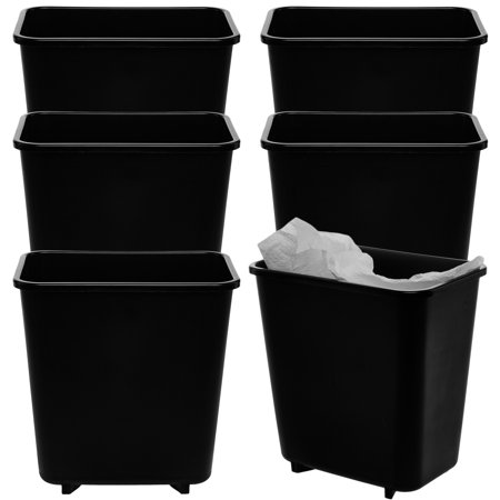 Rubbermaid 6 pack commercial plastic wastebasket 2 gallon - Commercial bathroom waste receptacles ...