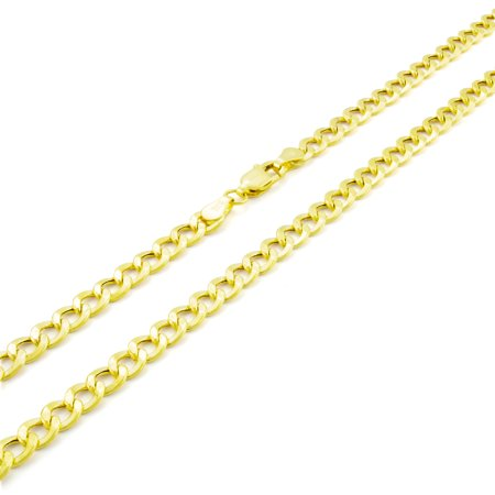 14k Yellow Gold 4.5mm Hollow Cuban Curb Link Chain Pendant Necklace