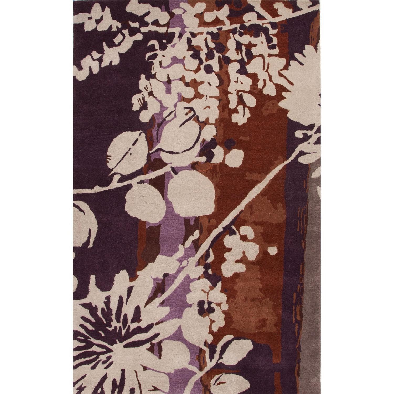 2 X 3 Eggplant Lavender Ivory And Rust Flor Hand Tufted Floral Wool Area Throw Rug Walmart Com Walmart Com