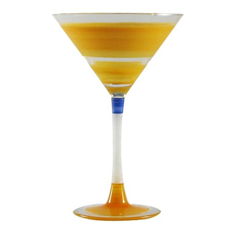Set of 2 Orange Retro Stripe Hand Painted Martini Drinking Glasses - 7.5 Ounces - Orange Martini Glasses