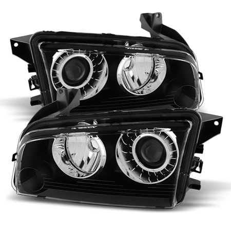 VIPMOTOZ Black Housing OE-Style Projector Headlight Headlamp Assembly For 2008-2010 Dodge Charger Xenon HID Model, Driver & Passenger -