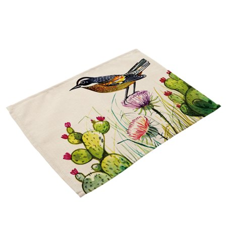 Soft Cotton Linen Tableware Mat Table Runner Hand Painted Bird Printied Tablecloth Desk Cover PM0015-5