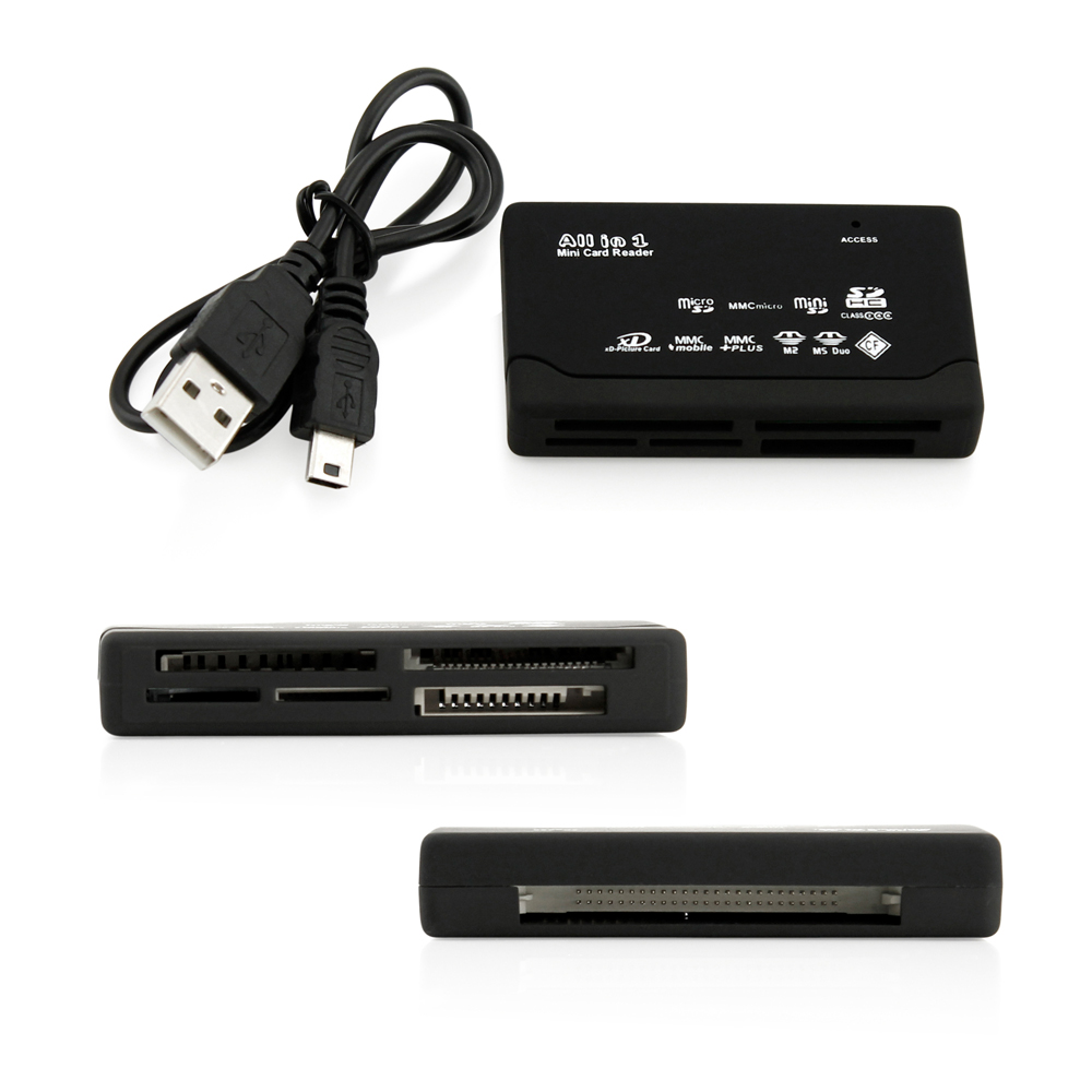 All in one USB Multi Card Reader for all Digital Memory Cards-Black