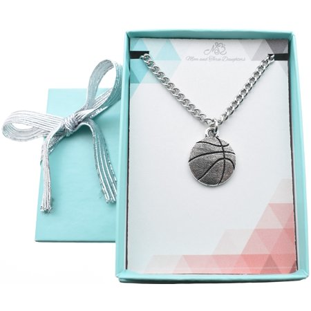 Basketball charm pendant in silver pewter on stainless steel chain. Boys necklace. Boys necklace. Boys jewelry. Teen boy. 20 curb chain. (Boy Necklaces)