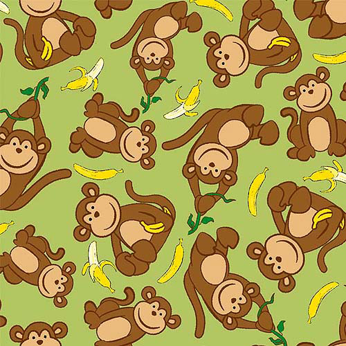 Creative Cuts So Soft Fleece Fabric, Banana Monkey Print, Yellow