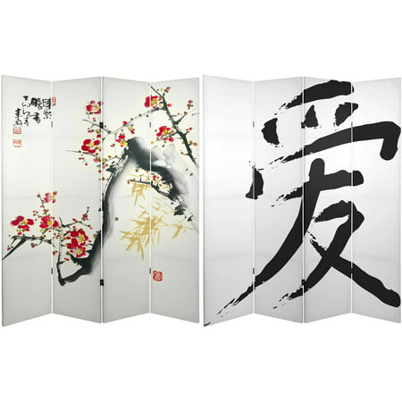 - 6' Tall Double Sided Cherry Blossoms and Love Canvas Room Divider 4 Panel