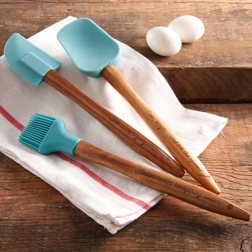 The Pioneer Woman Cowboy Rustic 3-Piece Silicone Head Utensil Set with Acacia Wood Handle
