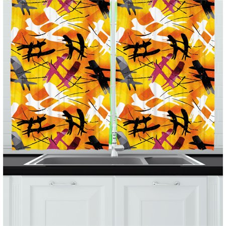 - Modern Curtains 2 Panels Set, Abstract Digital Graffiti Image with Marigold Backdrop and Purple Black Stripes, Window Drapes for Living Room Bedroom, 55W X 39L Inches, Multicolor, by Ambesonne