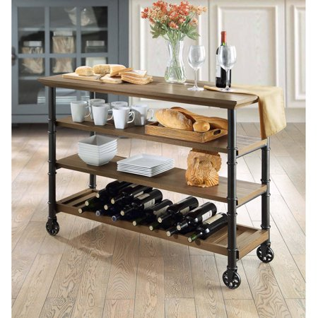 Bar Island Countertop - Whalen Santa Fe Industrial Style Kitchen Cart with large open shelves and an optional wine rack