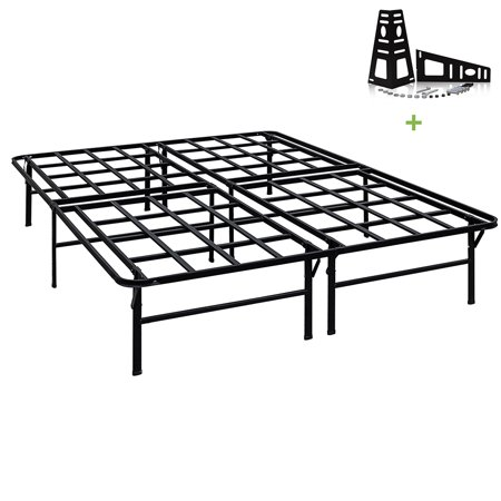 3000lbs Max Weight Capacity TATAGO 16 Inch Tall Heavy Duty Platform Bed Frame & 2 Set Headboard Bracket, Mattress Foundation, Non-Slip, No noise & No Box Spring Need for Saving Money, Queen