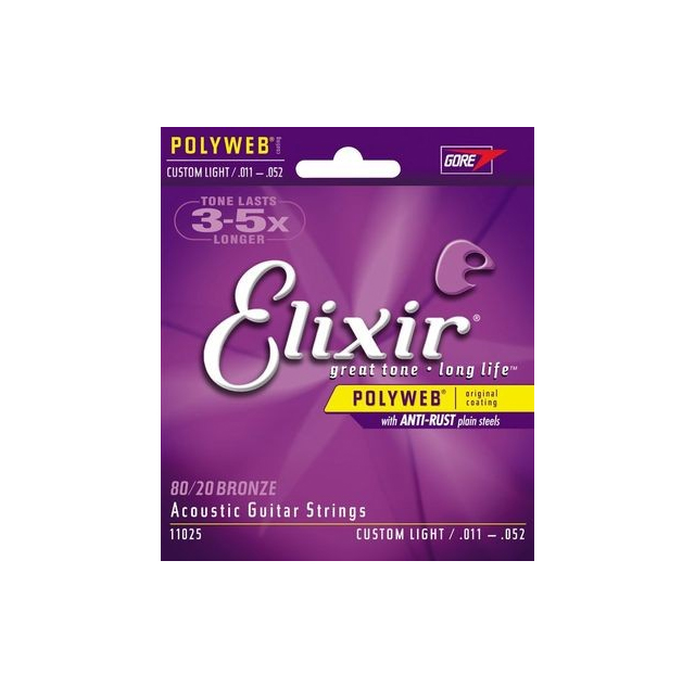 Elixir Polyweb 80/20 Bronze Custom Light Gauge Acoustic Strings