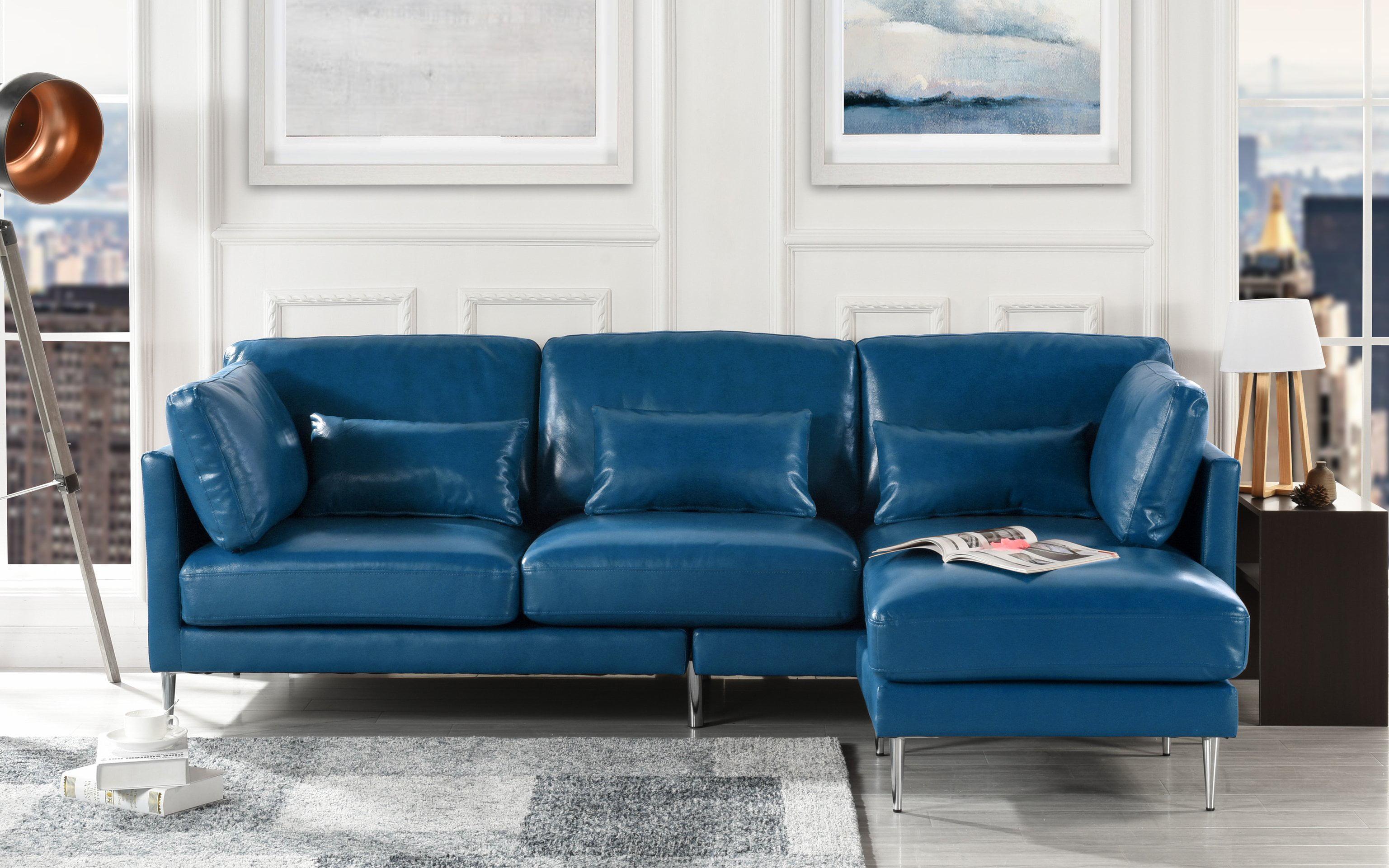 Modern Leather Sectional Sofa L Shape Couch Navy Blue Walmart Com Walmart Com