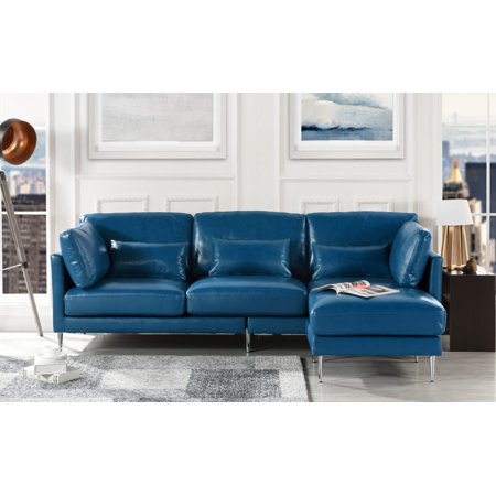 Modern Leather Sectional Sofa, L Shape Couch (Navy Blue)