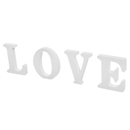 Home Wooden LOVE Designed English Letter Alphabet Craft Gift Decor White 4 in (English Gift)