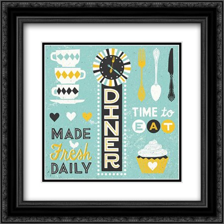 Retro Diner Collection Pattern Master 2x Matted 20x20 Black Ornate Framed Art Print by Mullan, Michael