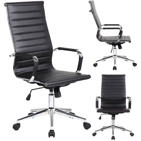 Belleze High Back Ribbed Upholstered Leather Executive