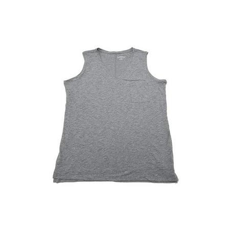 Chest Pocket Lightweight Pullover - Eddie Bauer Womens Size X-Large Lightweight V-Neck Chest Pocket Tanks, Heather Charcoal