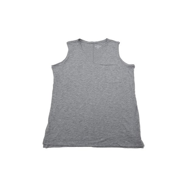 Eddie Bauer Womens Size X-Large Lightweight V-Neck Chest Pocket Tanks, Heather Charcoal