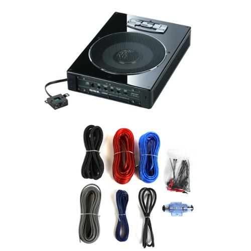 "SOUNDSTORM LOPRO8 8"" 600W UnderSeat Car Audio Subwoofer Powered Sub+8Ga Amp Kit"