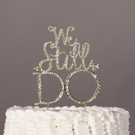 Golden Anniversary Decorations (We Still Do Cake Topper, Gold Anniversary Vow Renewal Party Rhinestone Decoration)
