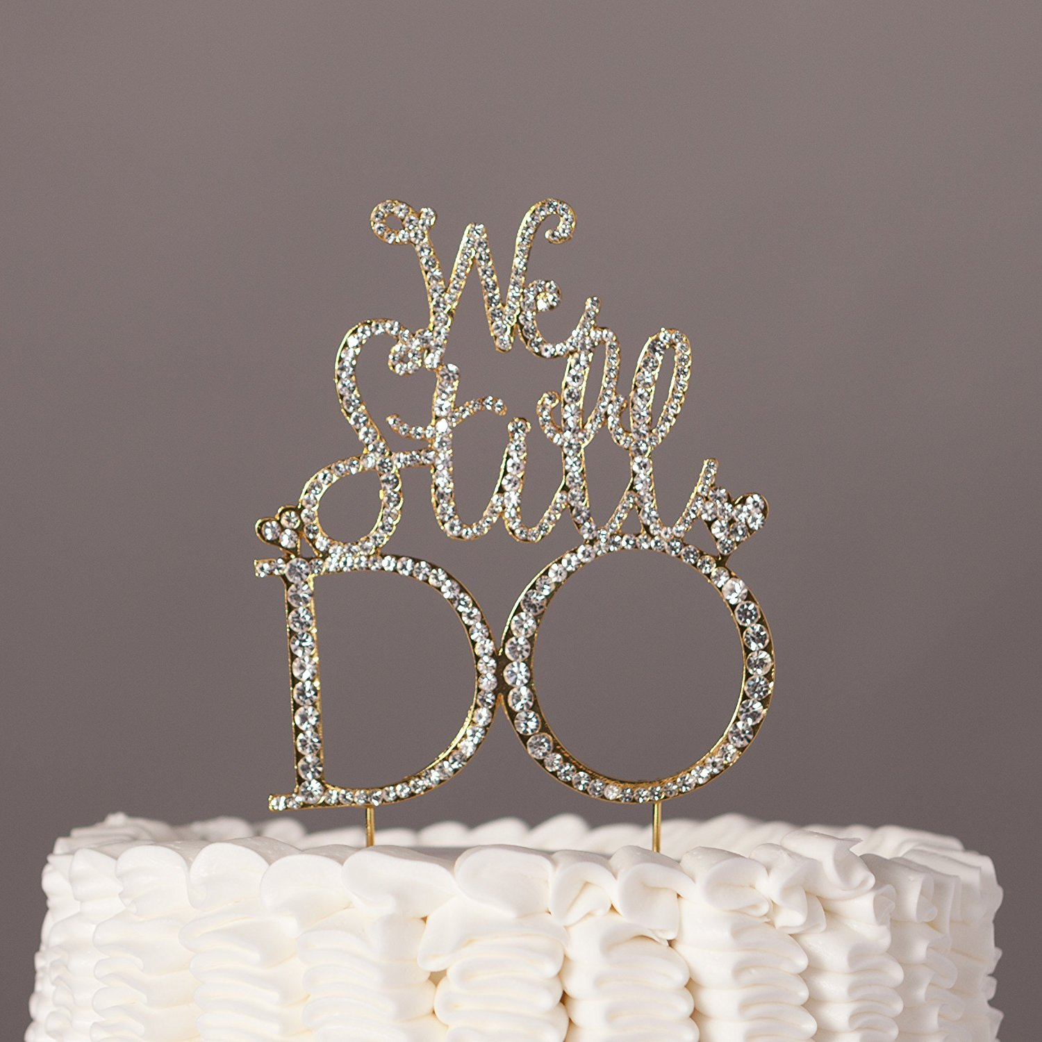 We Still Do Cake Topper, Gold Anniversary Vow Renewal Party Rhinestone Decoration (Gold)