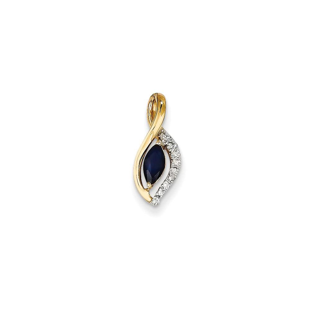 14k Yellow Gold Prong Set Diamond & Sapphire Pendant Wt- 0.05ct. Gem Wt- 0.34ct
