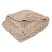 "Silver One Embossed Scales Faux Fur Throw Blanket, Taupe, 50"" x 60"""